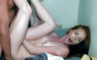Lovely seductive redhead with perfect body gets doggystyle fucked