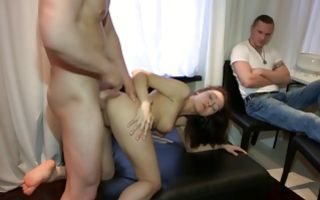 Gorgeous brunette girlfriend Inna fucked with an observer