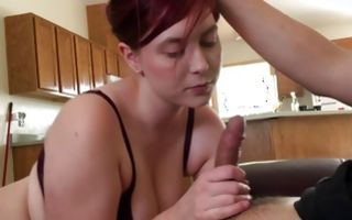 Horny brunette sucks a dick and lets her bf rub her nipples
