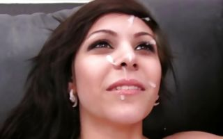 Stunning brunette girlfriend Raven has painful sex on sofa