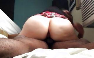 My GF with impressive big booty riding on heavy ramrod