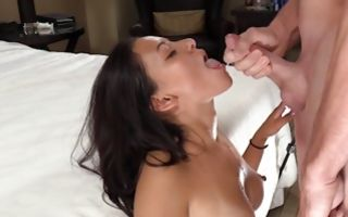 Sexy brunette Ex-GF Alissa nicely making deep blowjob