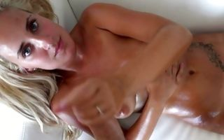 Curious blonde ex-girlfriend masturbating strong pecker