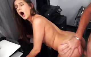 Nasty ex-girlfriend roughly fucked in delicious cum-hole