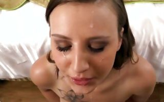 Gorgeous brunette girlfriend Ashley has painful rough sex