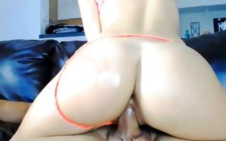 Breathtaking brunette Ex-GF with big butt riding on knob