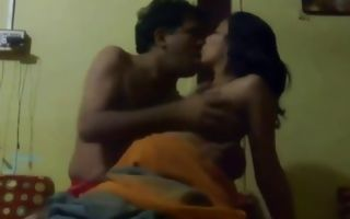 Horny indian couple making out on the bed and fuck hard core