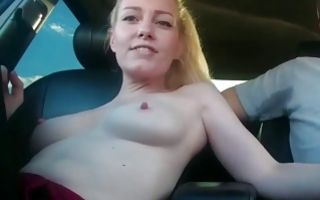 Adorable light-haired GF nicely sucking big dick in car