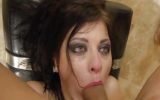 Hot brunette Rebecca Rainbow spreads out her legs getting ass hammered rough