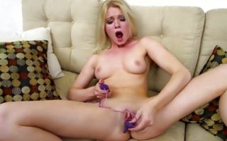 Hot light-haired girlfriend posing and masturbating cunt