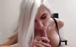 Platinum blonde swallowing his giant fat dick