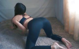 Hot girl in black leggings blowing a huge dick
