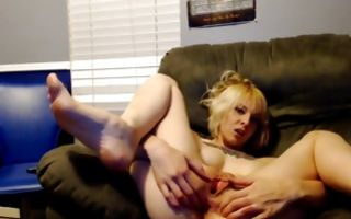 Raunchy blonde fingers her asshole and stretches it and her vagina