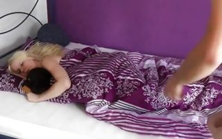 Naughty skinny blonde lets sleeping and then fuck her