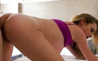 Hot light-haired girlfriend Taylor Whyte riding on big rod