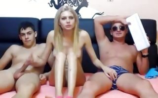 Hot tits teen blond getting ready for amateur threesome
