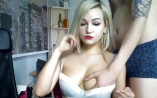 Blonde gf jerking his cock and getting fucked on watchmygf.com