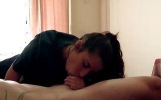 Lovely brunette teen jerks a dick and sucks in amateur porn