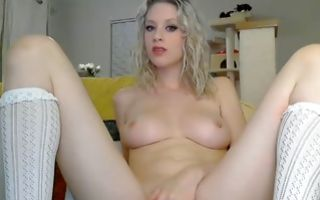 Doll in long socks enjoying masturbation solo with vibrator
