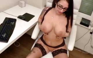 Naughty brunette whore gets doggystyle and takes a mouthful of cum