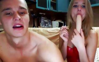 Pretty blonde girlfriend sucks a dildo and gets licked in porn