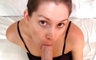 Raunchy brunette sucks a dick and rides in amateur xxx video