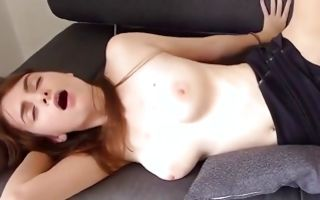 Sweet brunette GF with amazing tits has painful sex